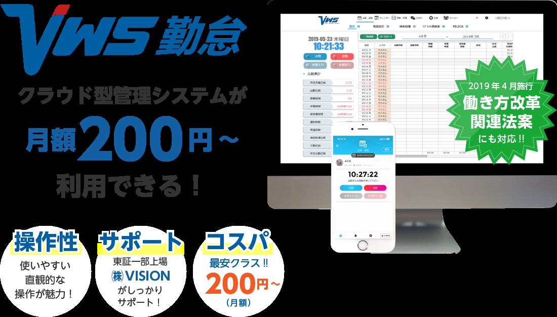 クラウド型管理システムが月額200円~利用できる!